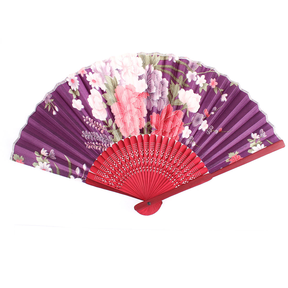 Bamboo Frame Flower Pattern Party Wedding Fabric Handheld Folding Fan Red