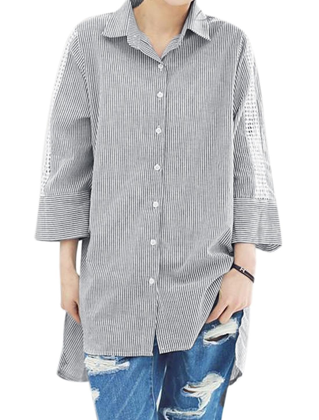 Women 3/4 Sleeves Stripes Crochet Panel High Low Hem Tunic Shirt Black S