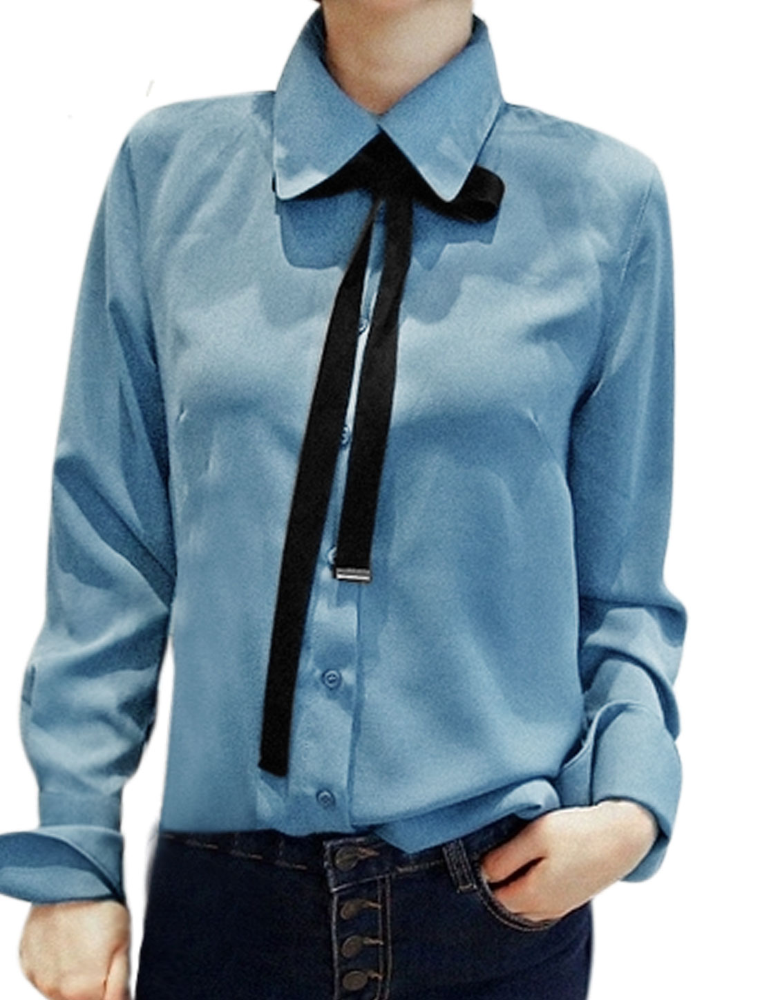 Women Long Sleeves Self Tie Bowknot Single Breasted Tunic Shirt Blue M