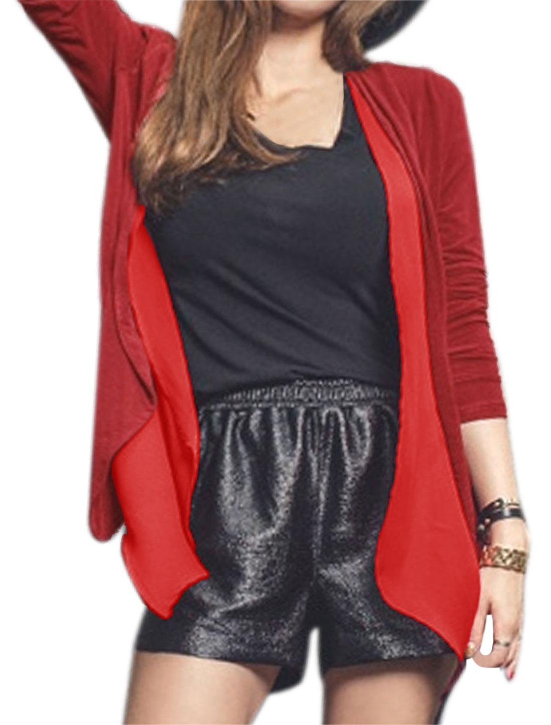 Women Long Sleeves Open Front Chiffon Panel Irregular Hem Cardigan Red S