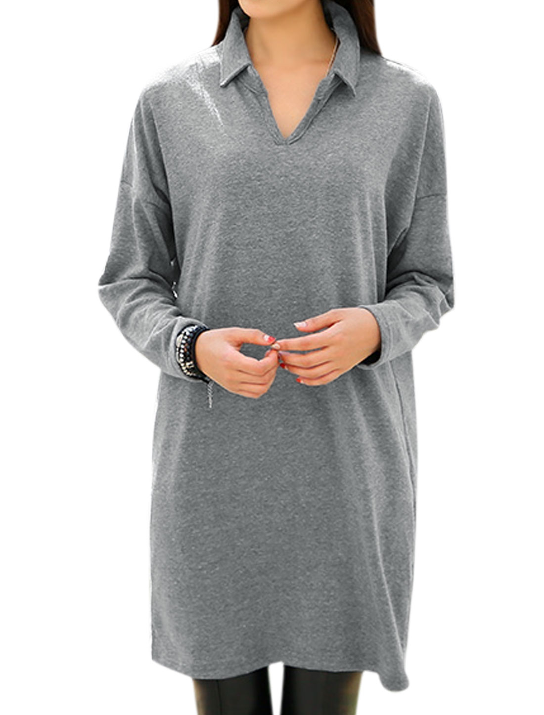 Women Turn Down Collar Long Batwing Sleeves Loose Fit Casual Tunic Dress Gray M