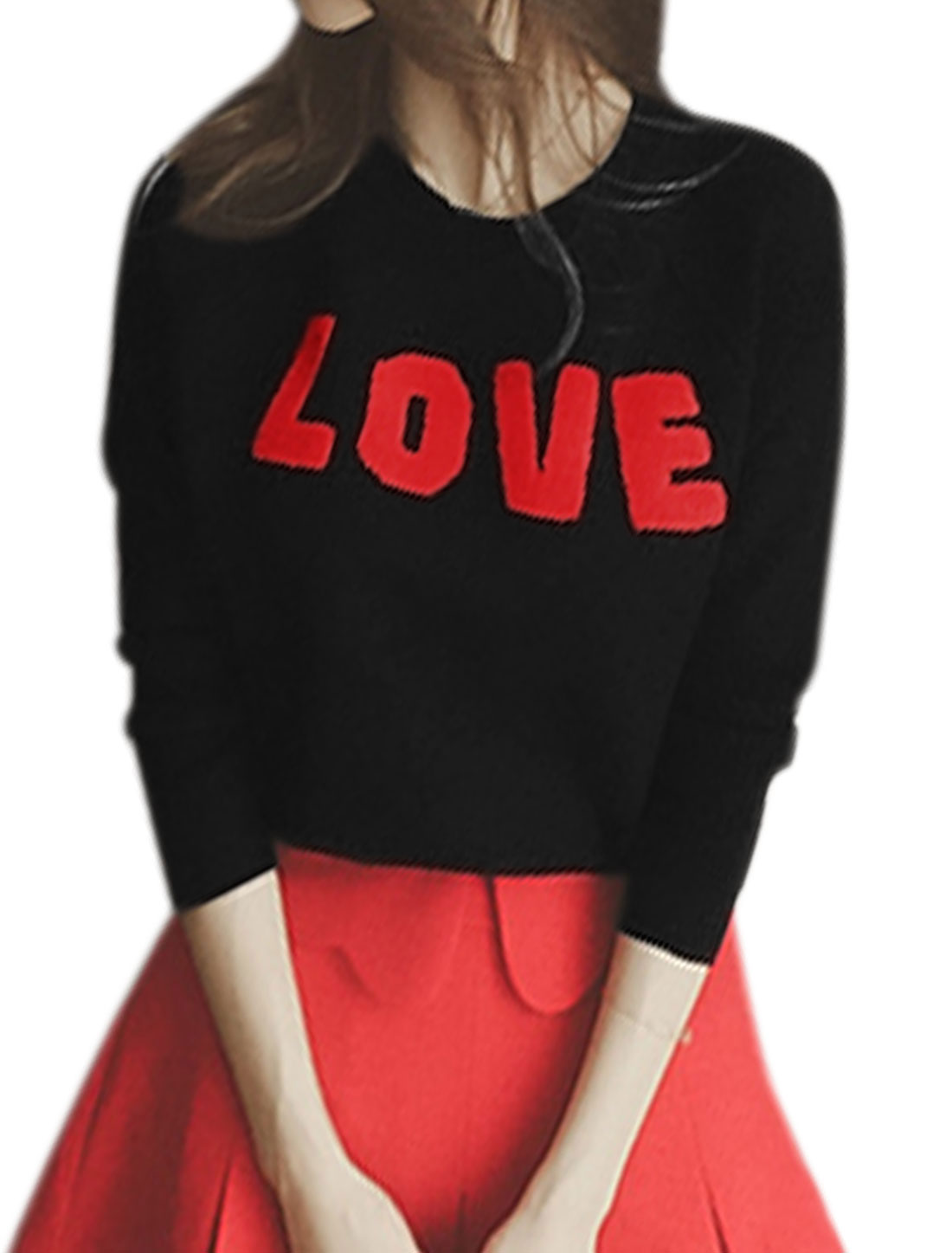 Ladies Crew Neck Letters Hearts Applique Ribbed Knitted Top Black XS
