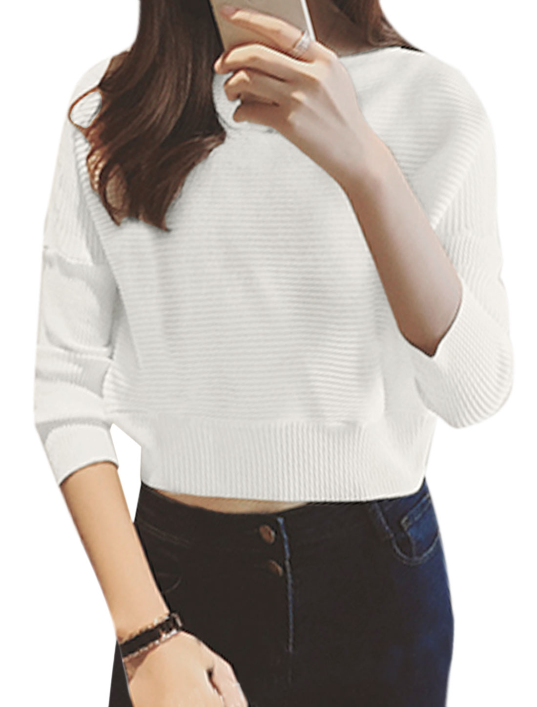 Women Dolman Sleeves Pullover Textured Crop Knit Shirt White XS