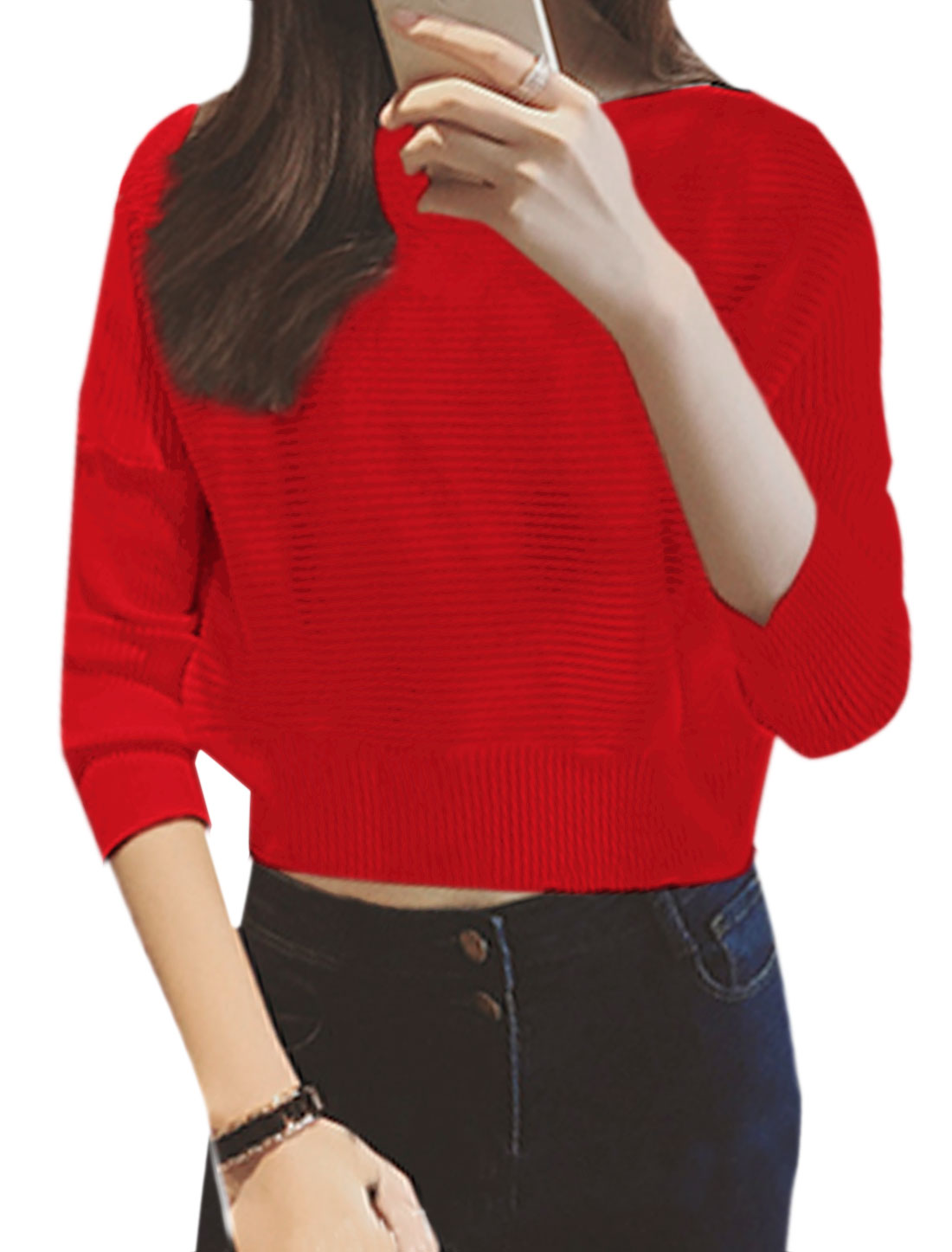Women Crew Neck Textured Ribbed Hem Cropped Casual Jumper Red XS
