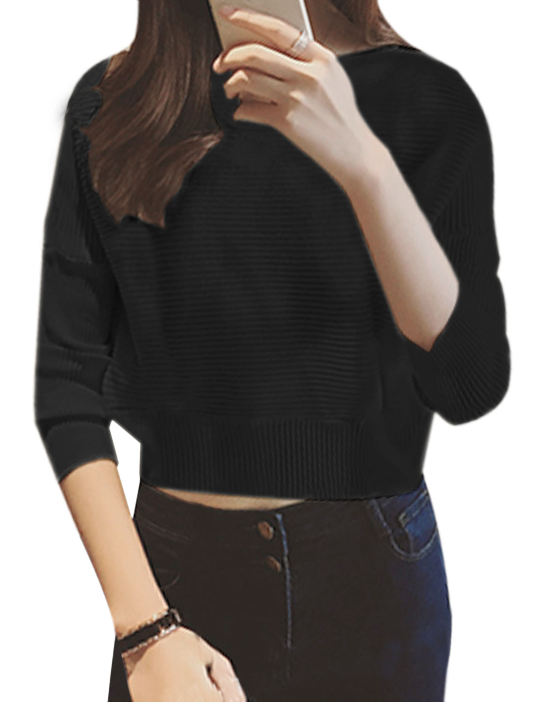 Women Bracelet Sleeves Textured Leisure Cropped Pullover Black XS