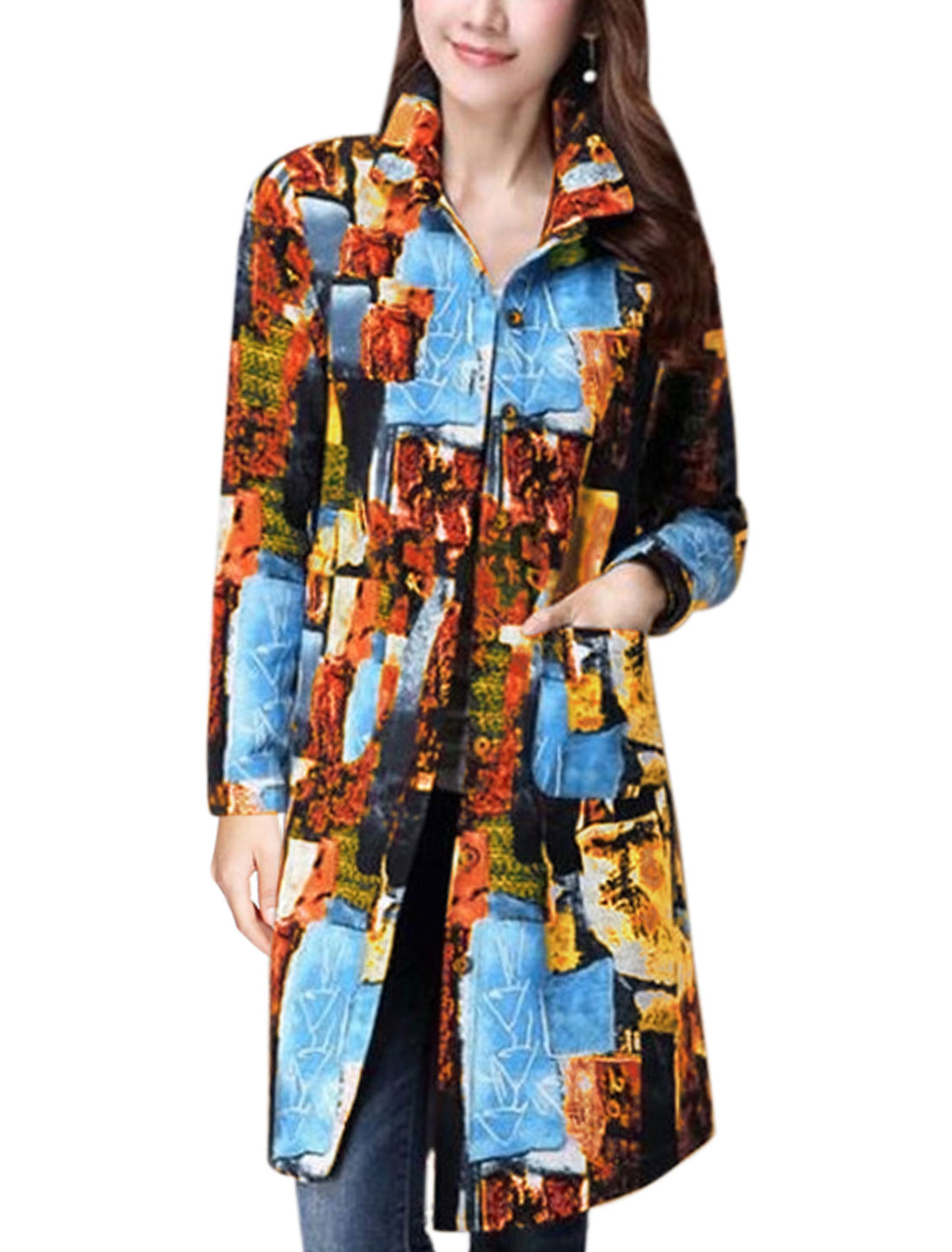 Women Long Sleeves Novelty Prints Two Pockets Front Tunic Shirt Multi-Color M