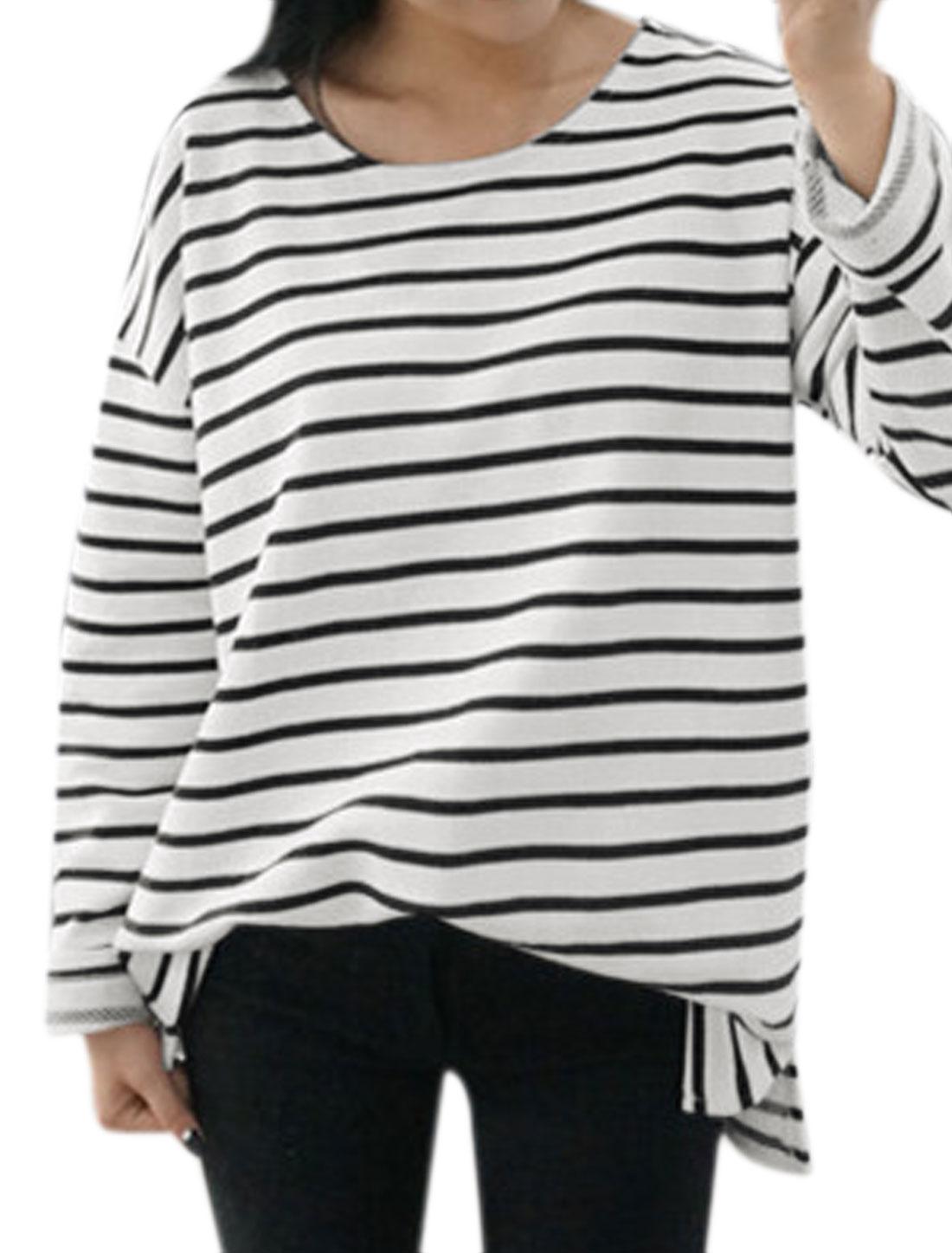 Women Round Neck Dolman Sleeves Stripes Casual Tunic T-Shirt Black S