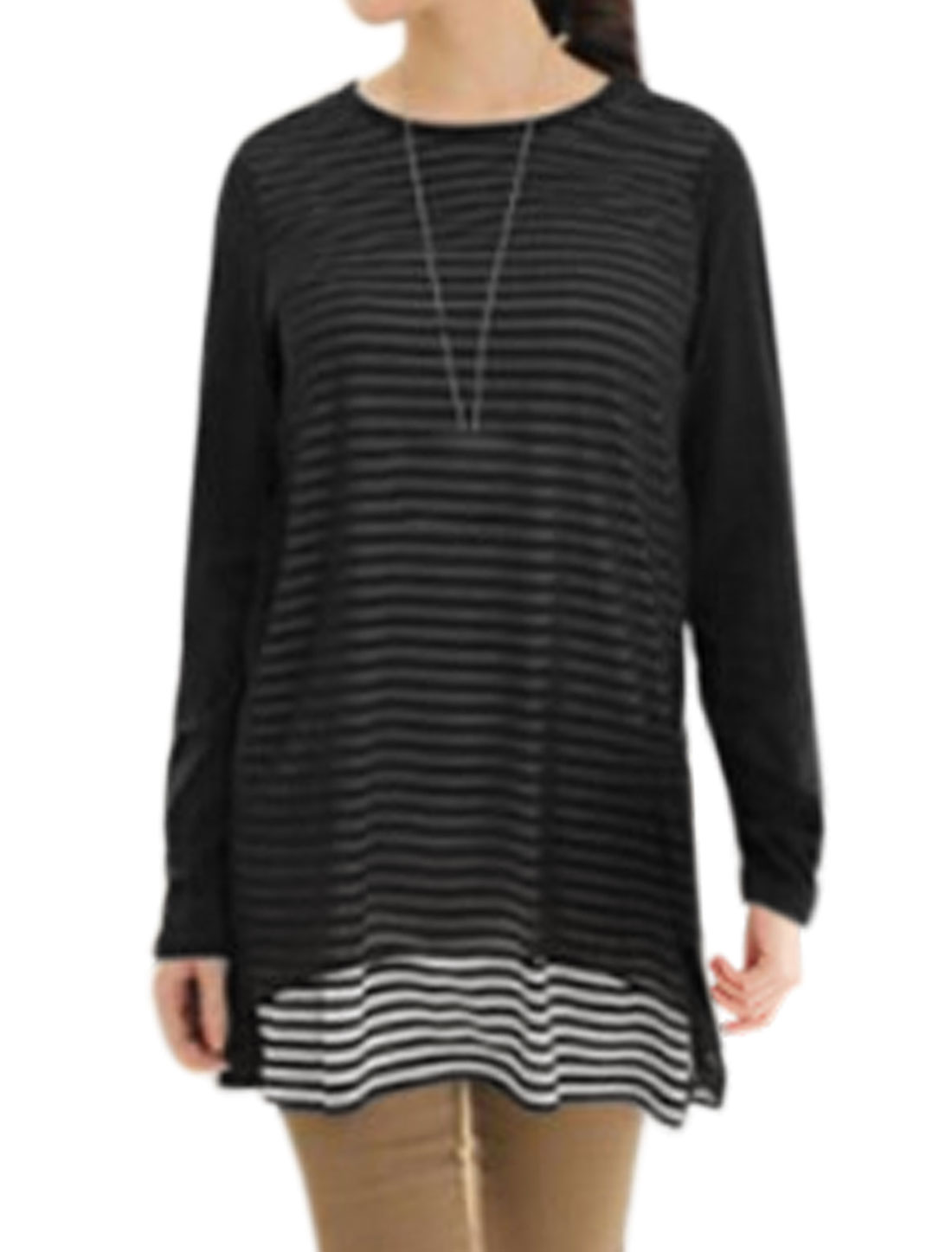 Women Long Sleeves Chiffon Panel Layered Stripes Prints Tunic Tee Black M