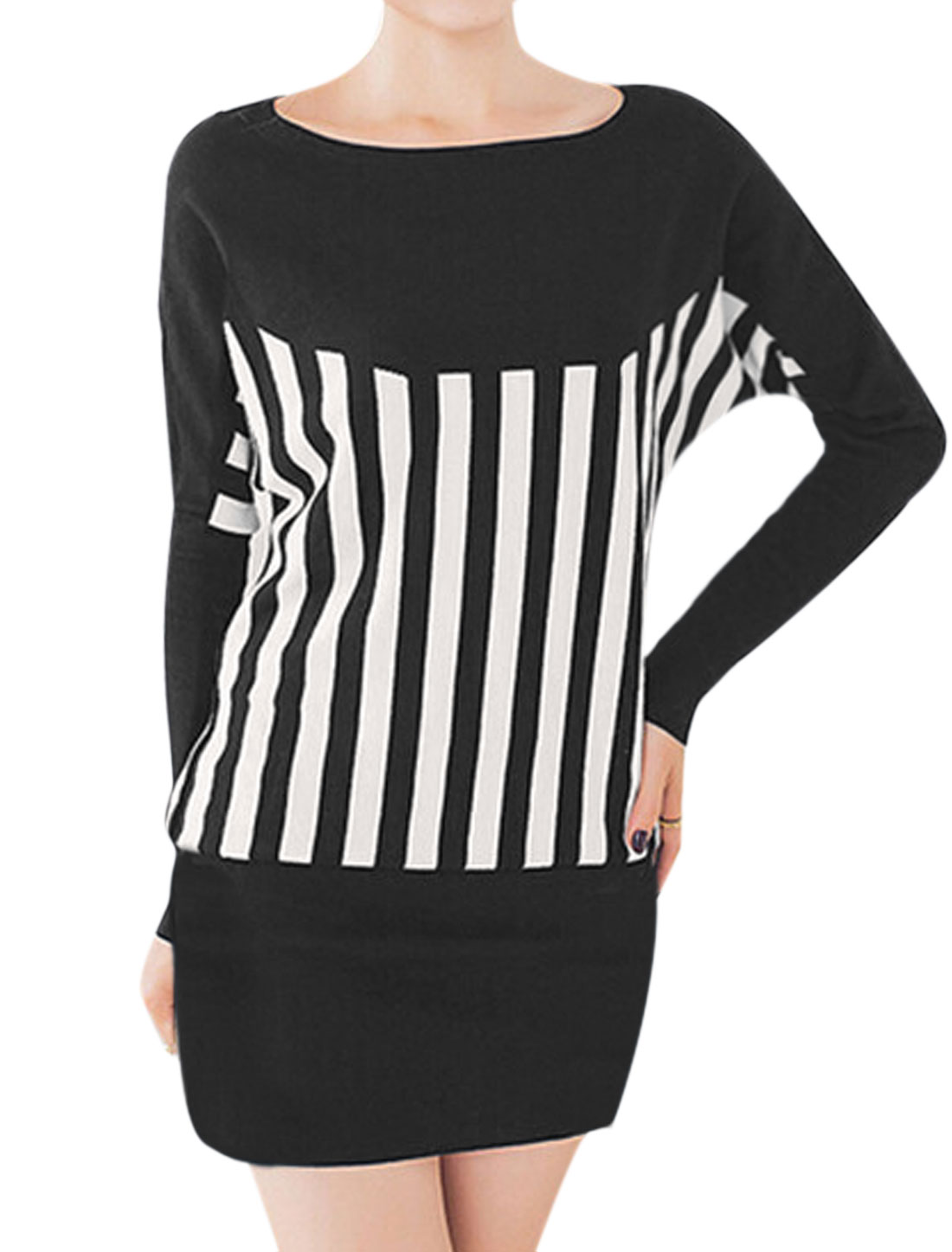 Women Round Neck Long Dolman Sleeves Stripes Panel Design Blouson Dress Black M