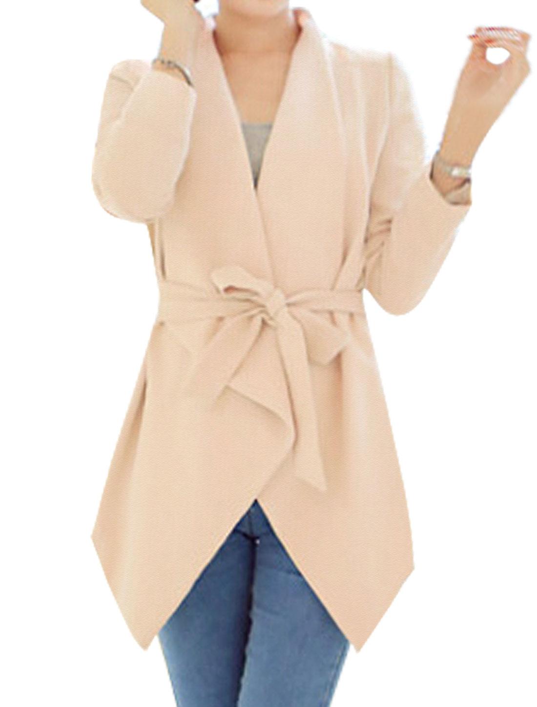 Women Turn Down Collar Long Sleeves Front Opening Tunic Cardigan w Belt Beige M