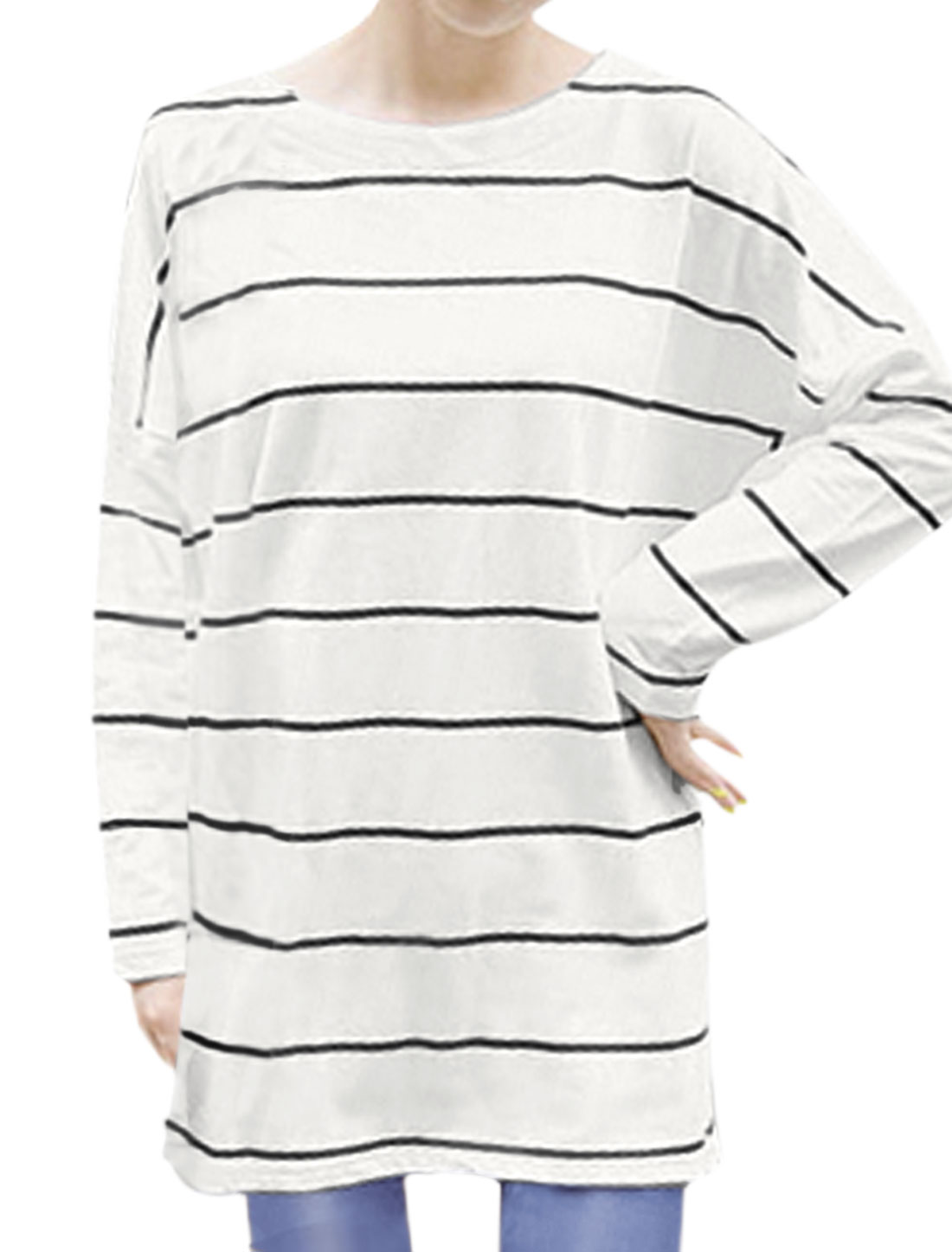Women Round Neck Long Batwing Sleeves Stripes Loose Fit Tunic Tee White XS