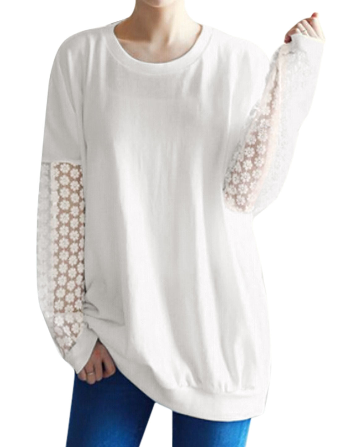 Women Long Sleeves Crochet Design Organza Panel Tunic T-Shirt White S