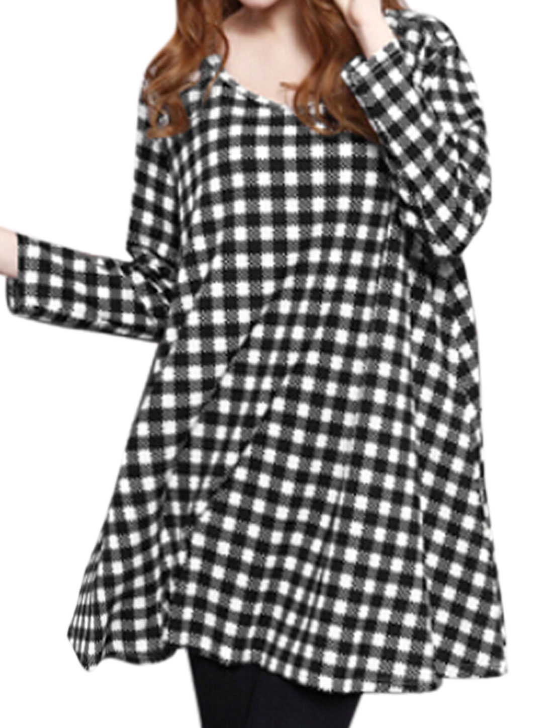 Women Scoop Neck Long Sleeves Flared Plaids Pattern Loose Fit Tunic Top Black M
