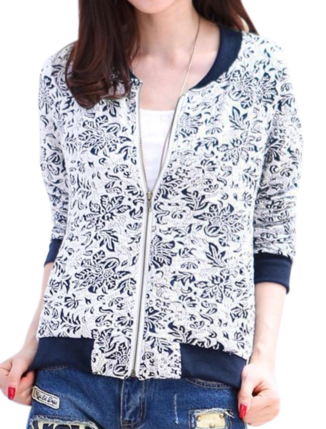 Women Stand Collar Long Raglan Sleeves Floral Pattern Zip Up Jacket White L