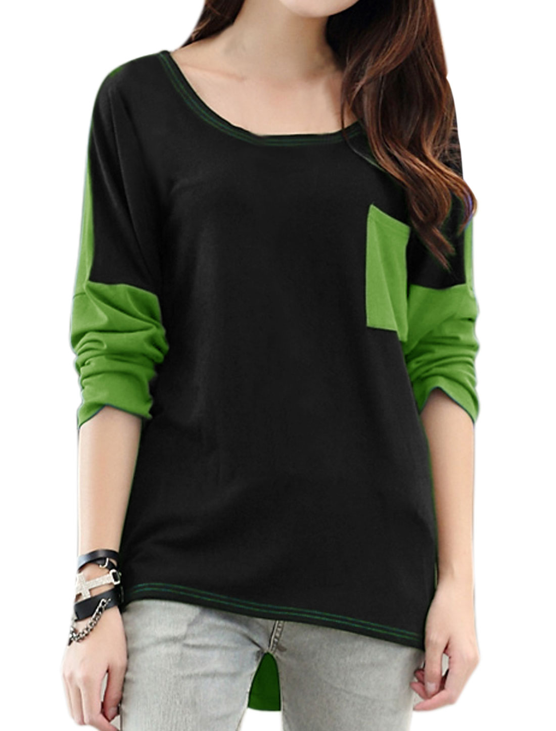 Ladies Round Neck Color Block Tunic T-Shirt Green S