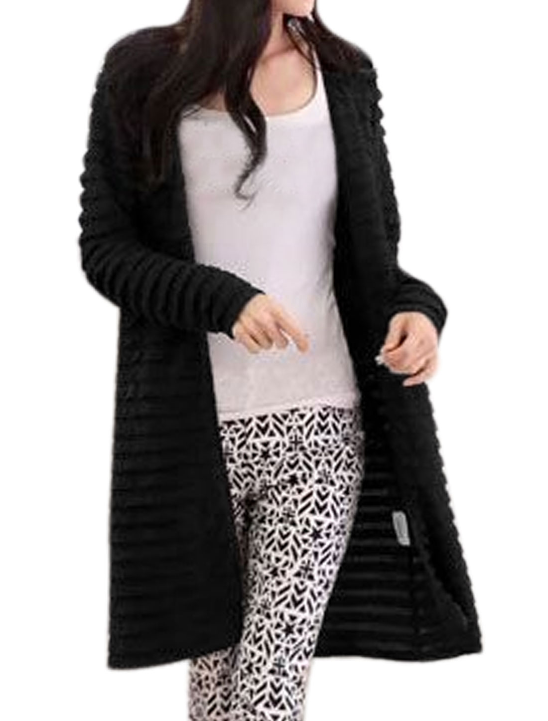 Women Long Sleeves Layered Opening Front Longline Cardigan Black S