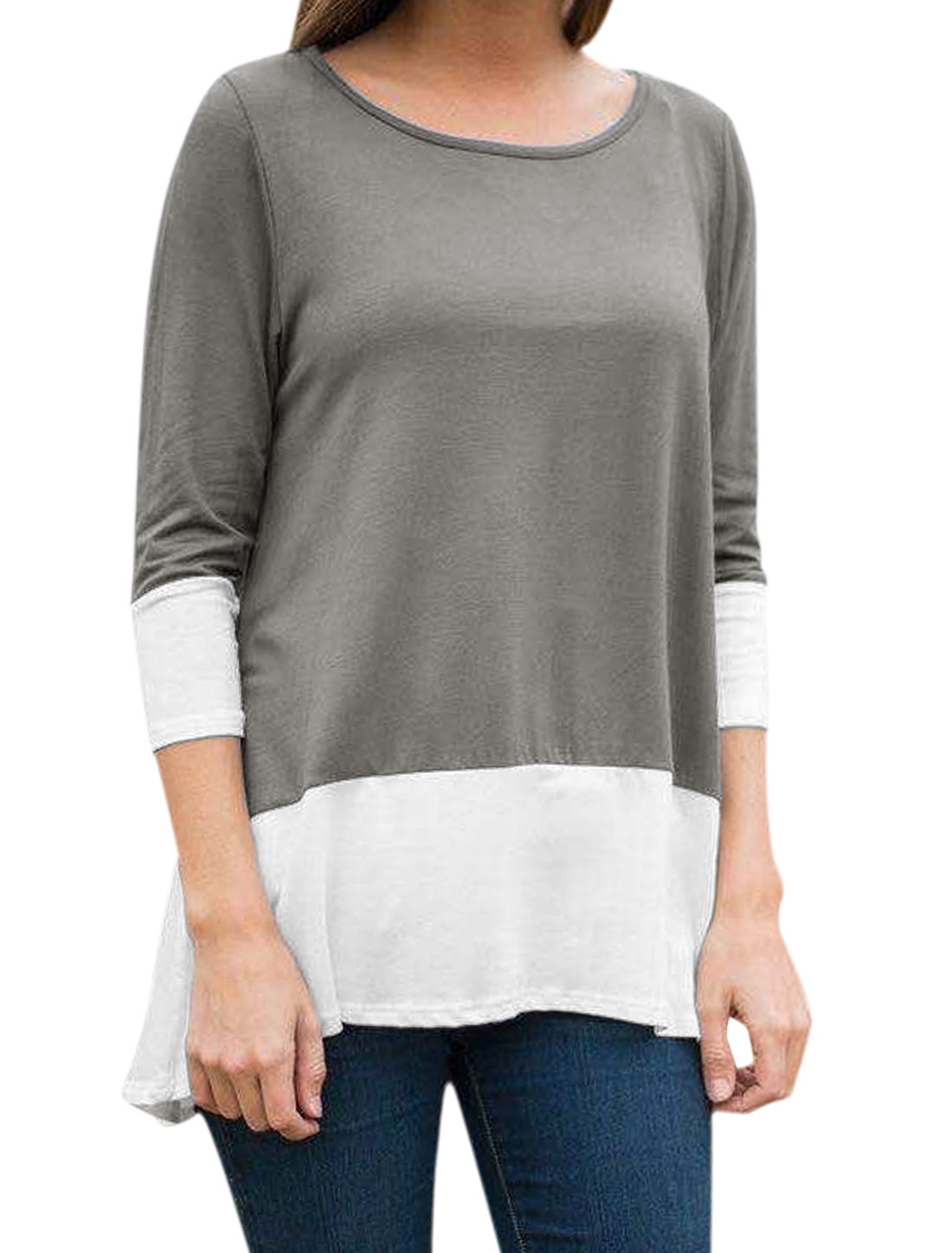 Women Round Neck Long Sleeves Color Block High Low Hem Tunic Top Gray M