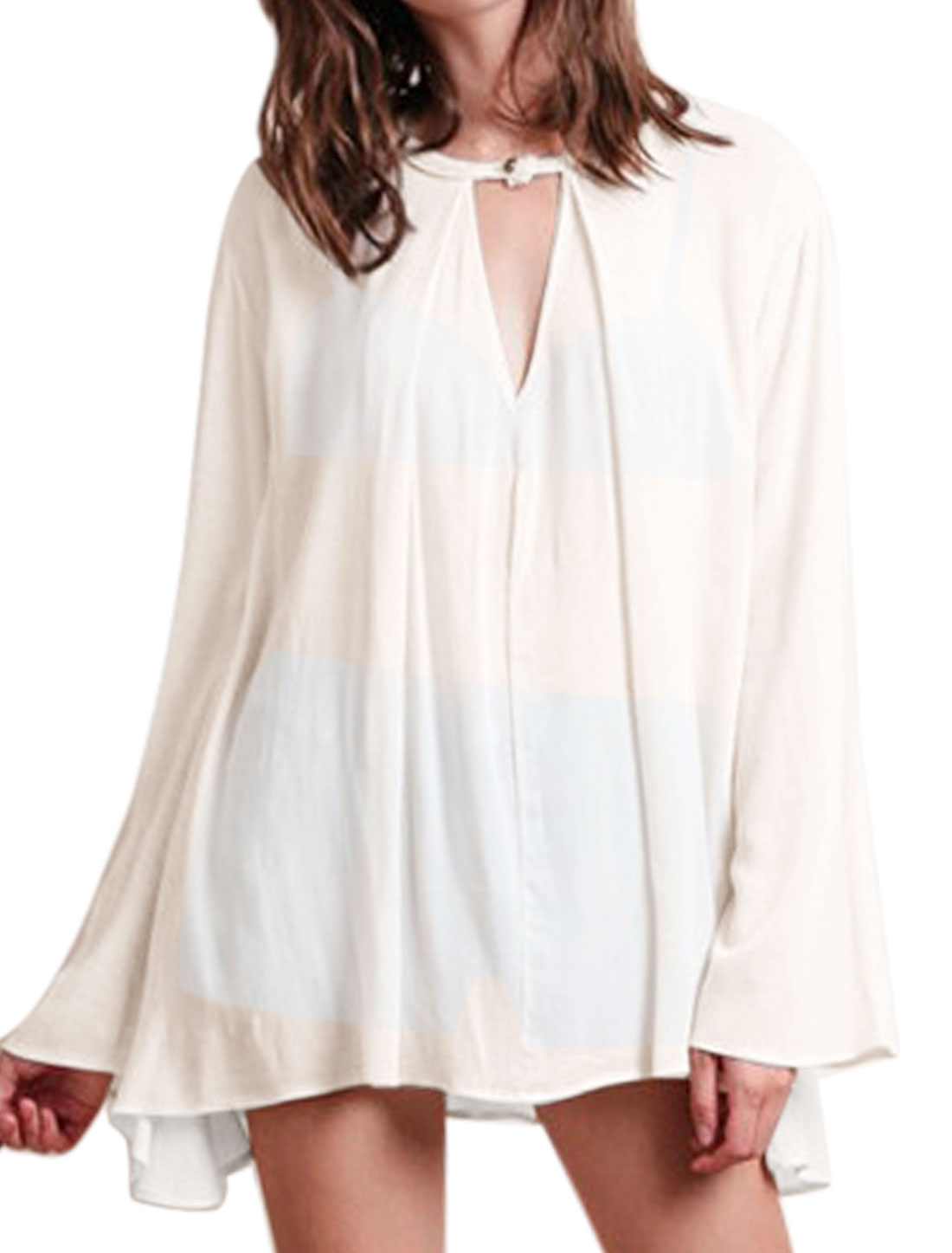 Women Long Sleeves Keyhole Front Tunic Chiffon Blouses Off White M