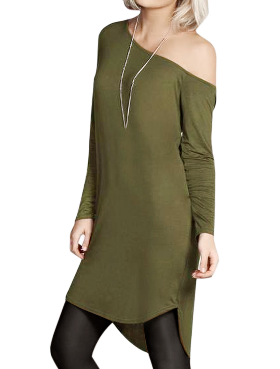 Lady Asymmetric Neck Curved Hem Tunic T-Shirt Green M