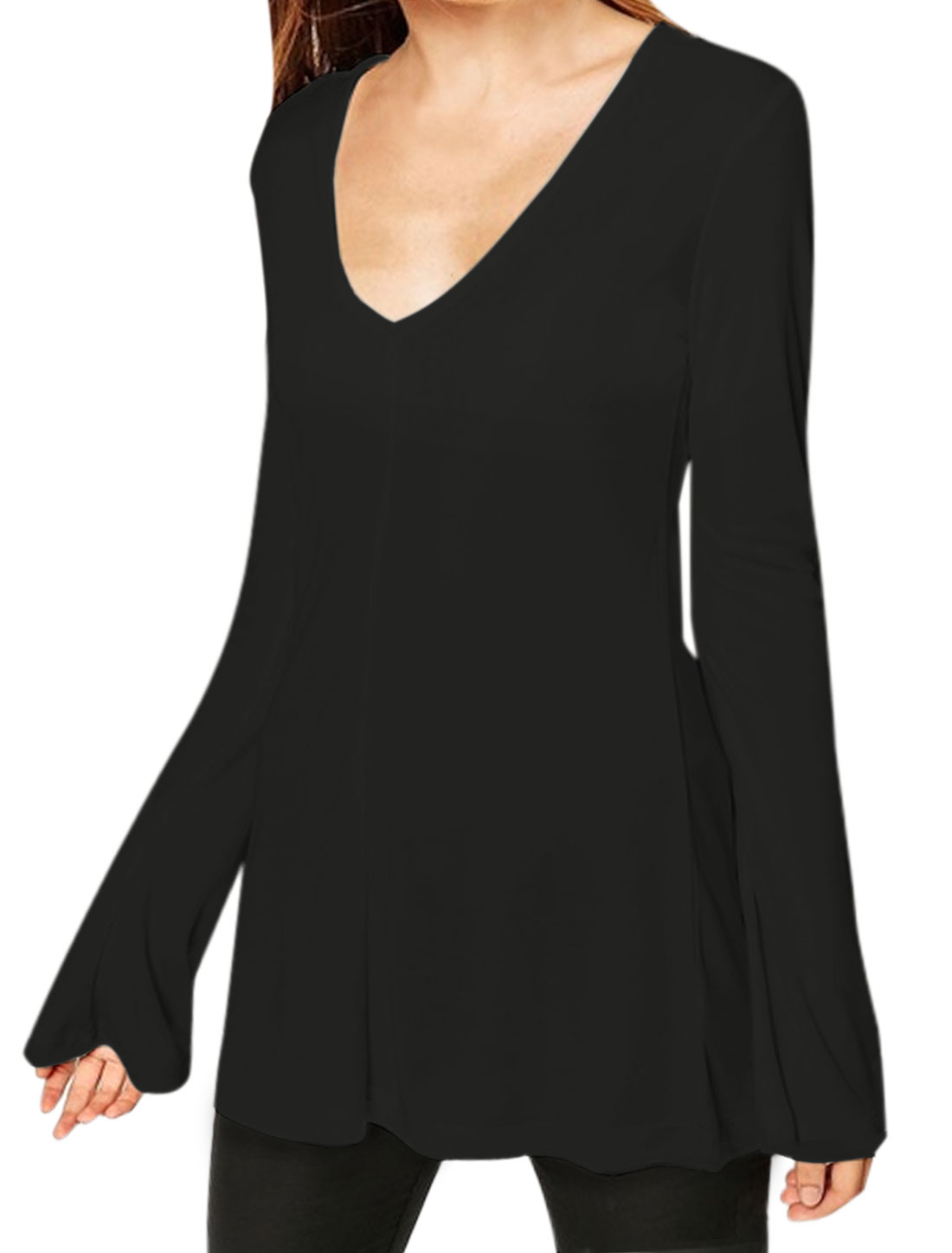 Lady V Neckline Long Bell Sleeves Slim Fit Tunic Top Black M