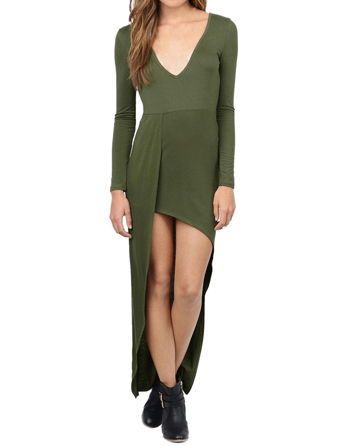 Ladies Deep V Neck Long Sleeves Irregular High Low Hem Lonline Top Green M