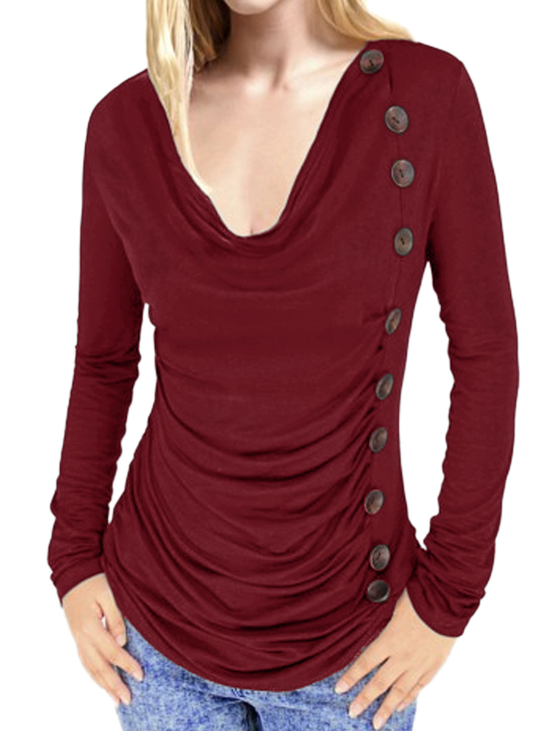 Ladies Cowl Neck Button Decor Ruched Front Slim Fit Leisure Tunic Top Burgundy M
