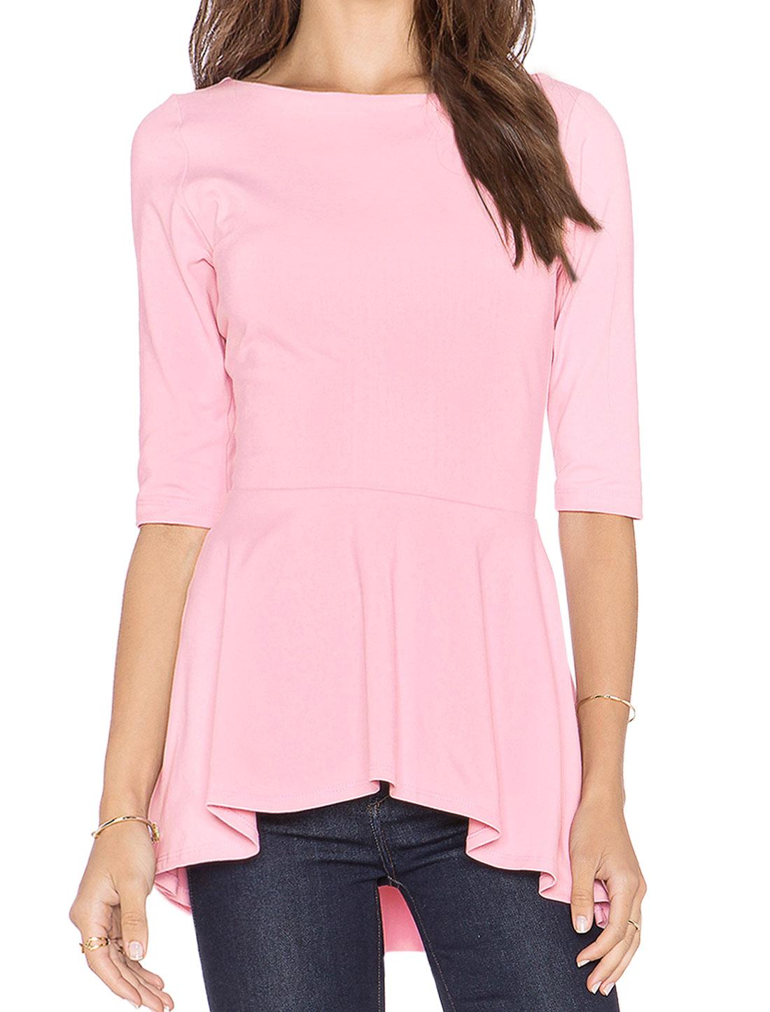 Women 1/2 Sleeves U Back Asymmetric Hem Casual Peplum Top Pink M