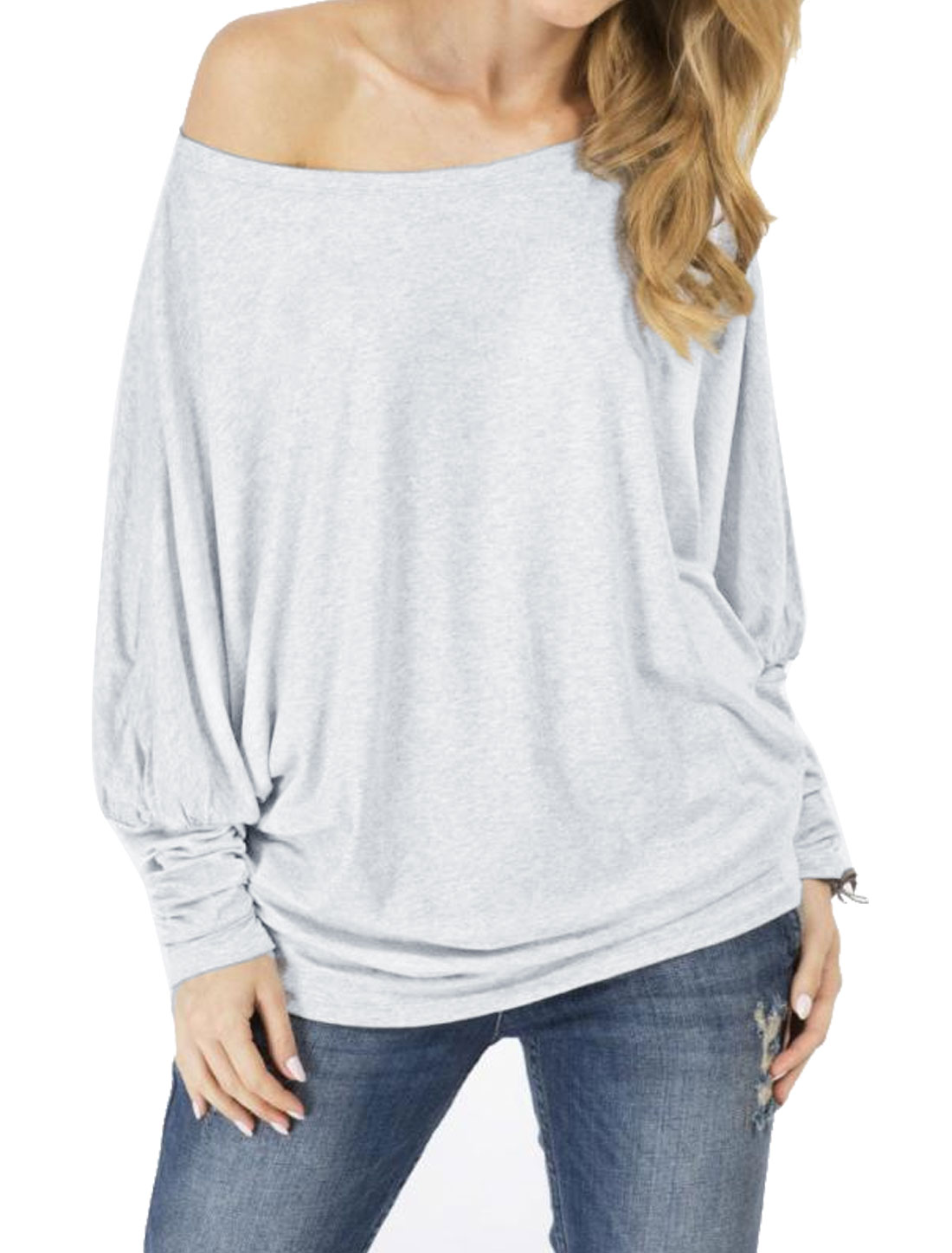 Women Boat Neck Batwing Sleeves Two Ways Wearing Blosues Gray S