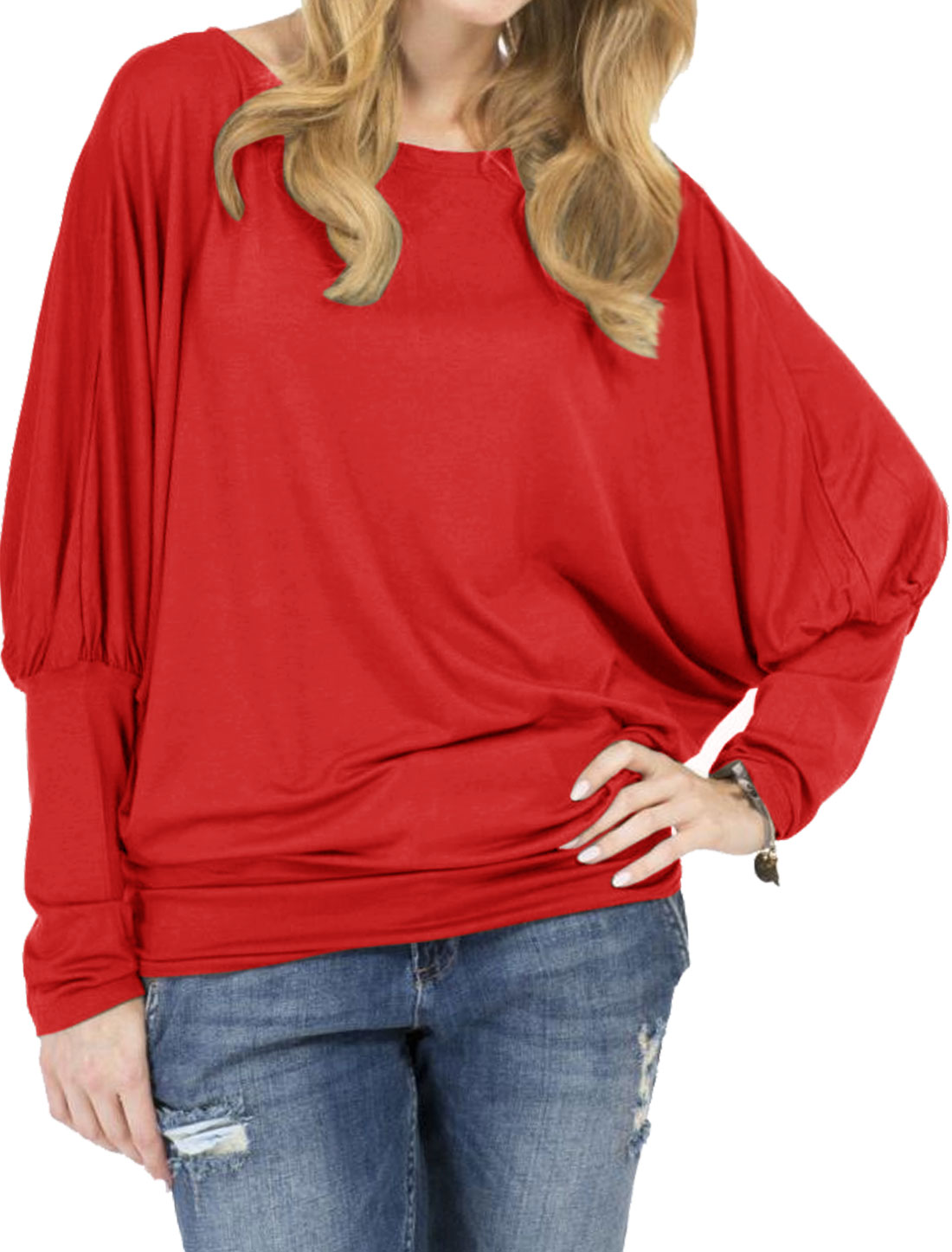 Women Boat Neck Long Sleeves Loose Fit T-Shirt Red S