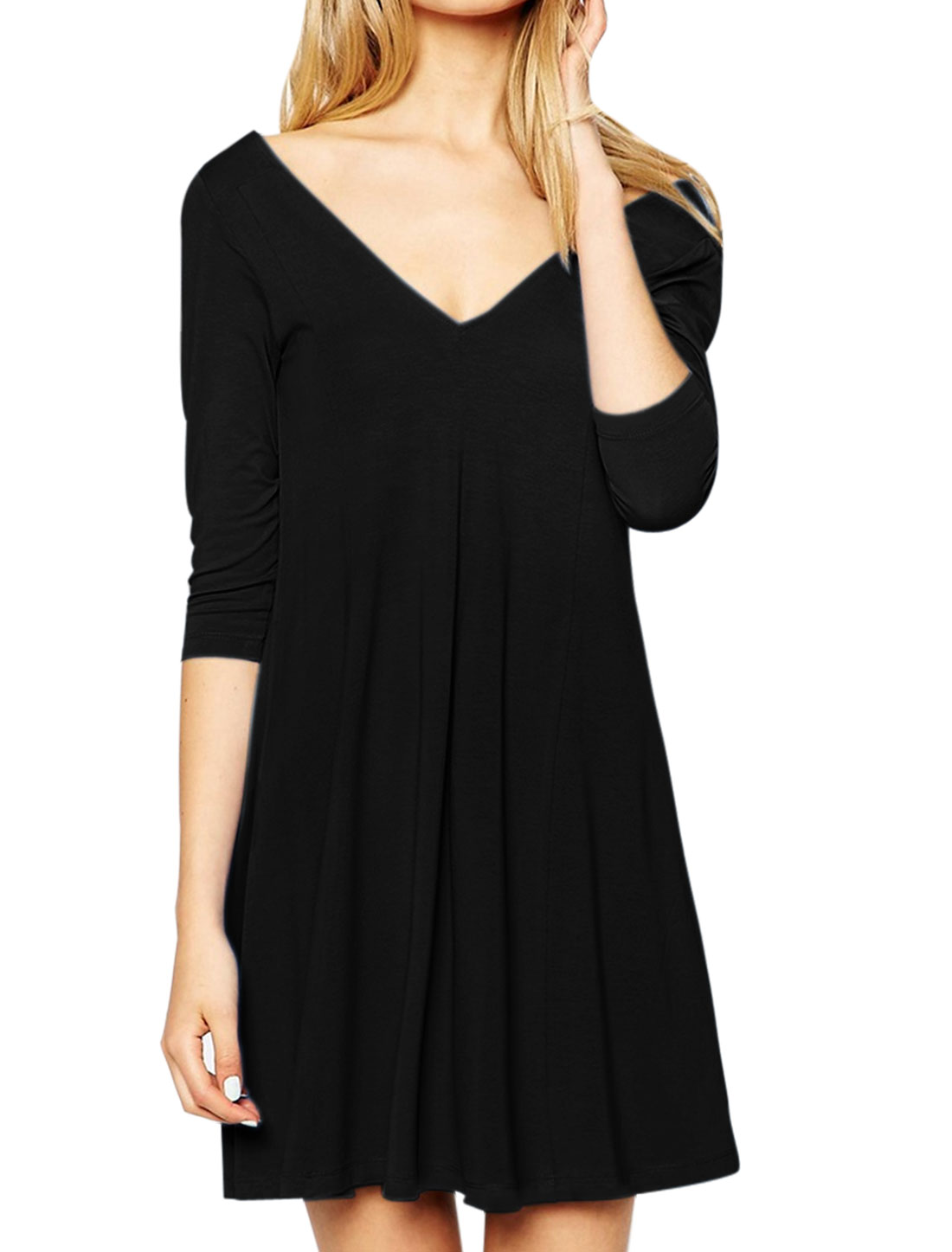 Women Deep V Neck 3/4 Sleeves Unlined Casual Tunic Dress Black M