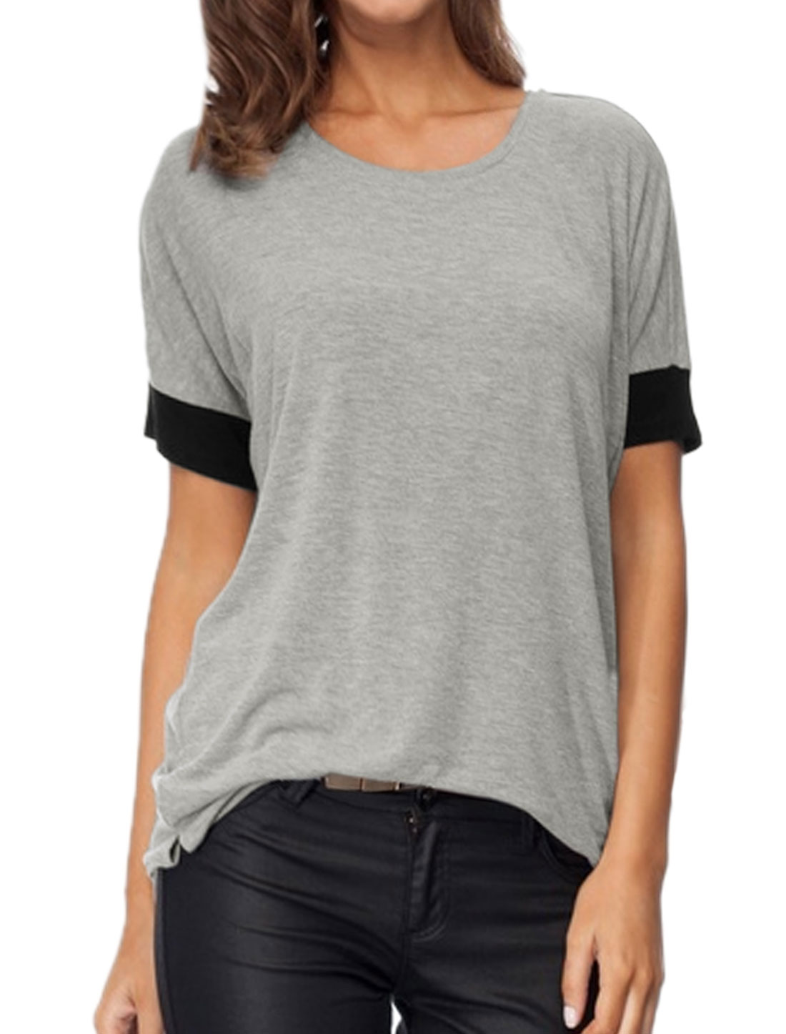 Lady Round Neck Short Sleeves Contrast Color Tunic T-Shirt Gray XS