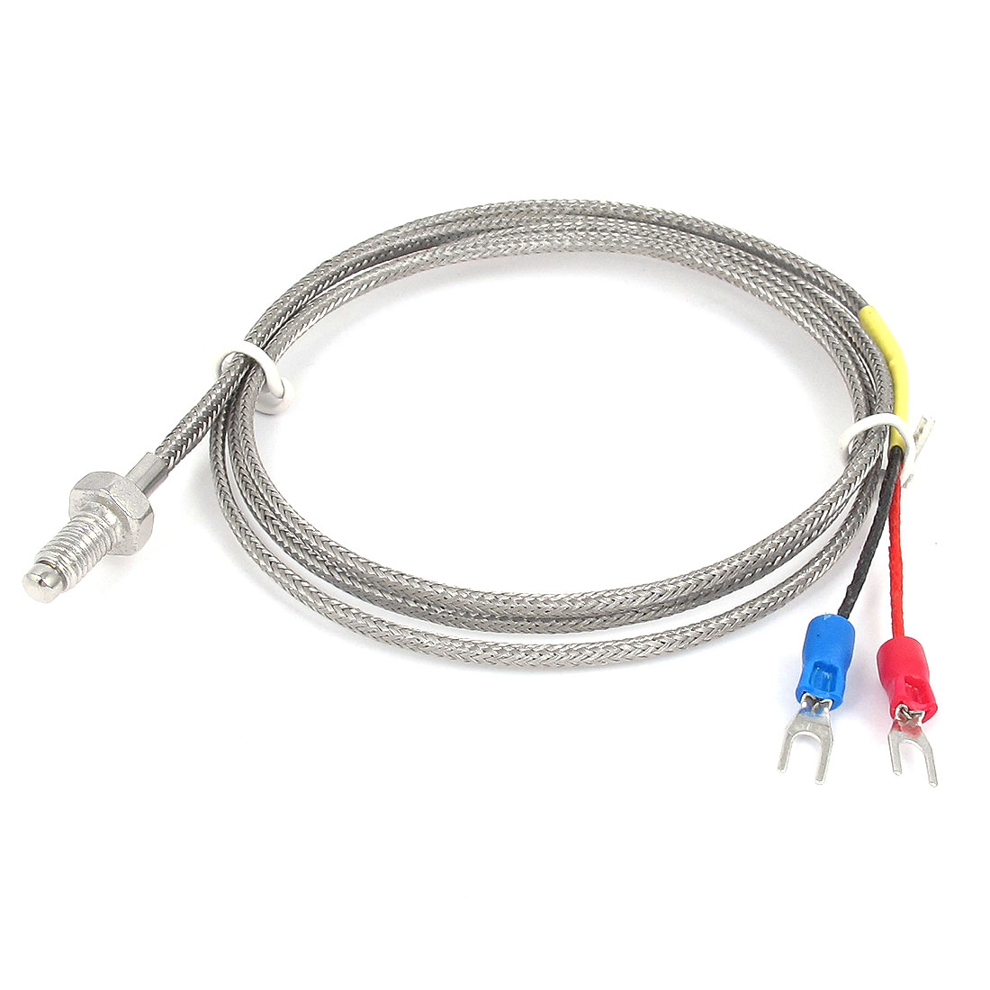 1M 3Ft Cable K Type 6mm Thread Metal Braided Shield 0-600C Sensor Thermocouple
