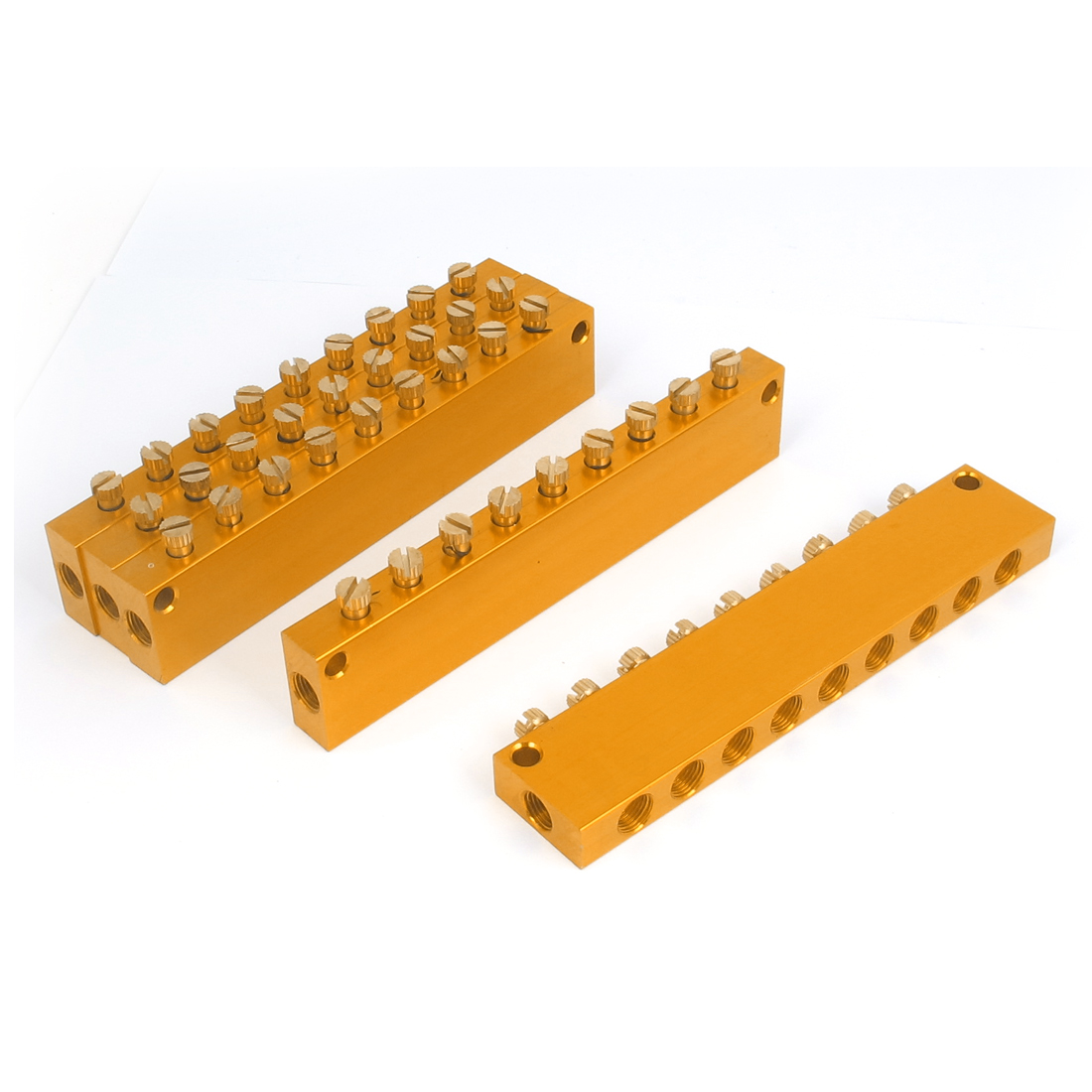 Aluminum Air Pneumatic Adjustable 9 Ways Oil Distributor Manifold Block 150mm Long 5pcs