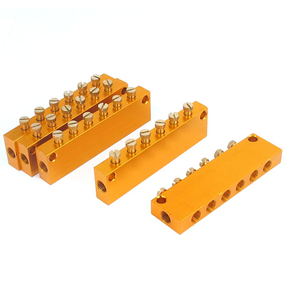 Aluminum Air Pneumatic Adjustable 6 Ways Oil Distributor Manifold Block 5pcs