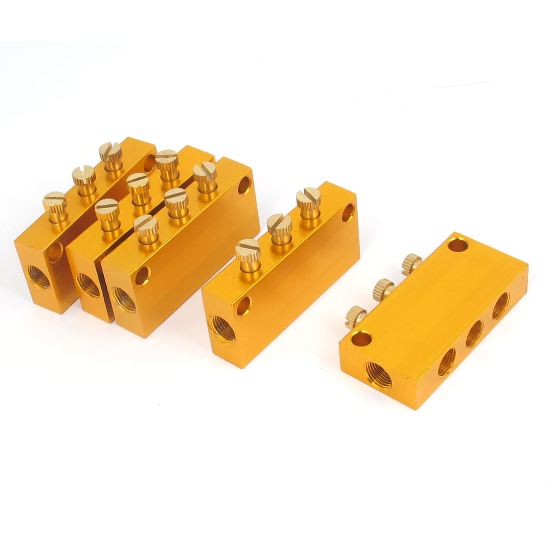 Aluminum Air Pneumatic Adjustable 3 Ways Oil Distributor Manifold Block 5pcs
