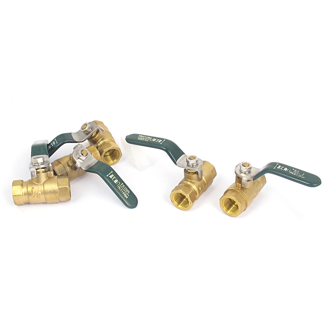 1/4BSP to 1/4BSP Female Outlet 180 Degree Rotary Lever Handle Metal Air Ball Valve Controller 5pcs