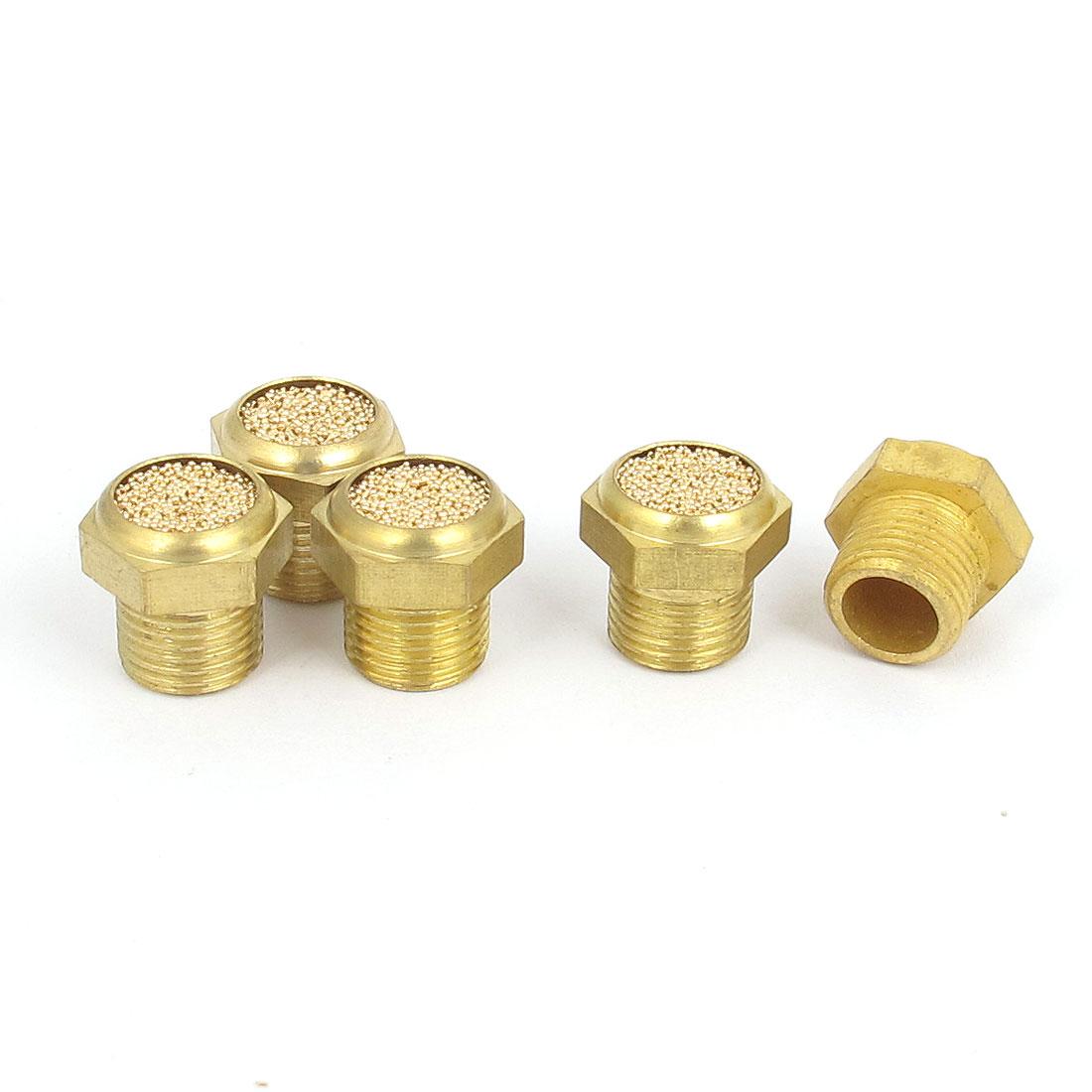1/8BSP Thread Brass Pneumatic Air Exhaust Noise Reducing Silencer Muffler 5pcs