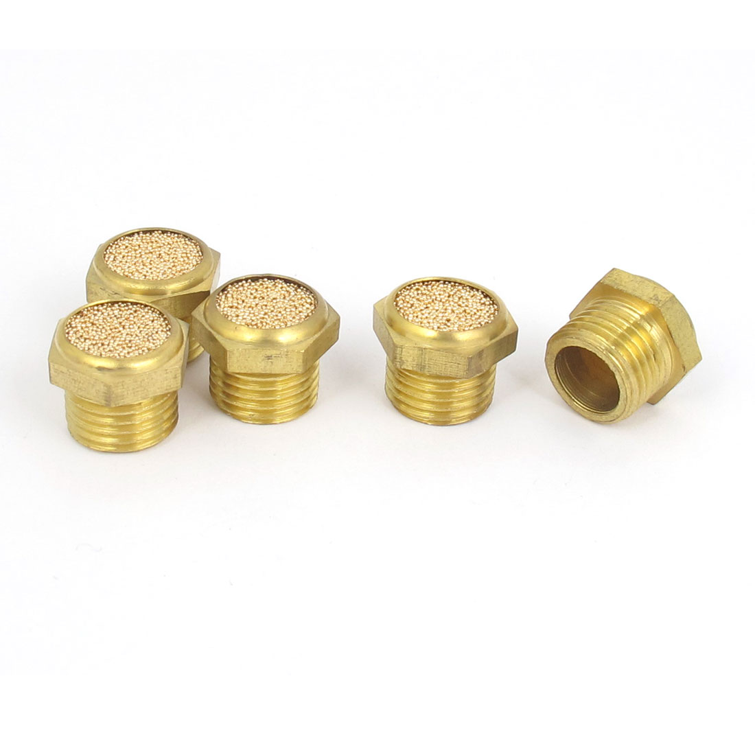 1/4BSP Thread Brass Pneumatic Air Exhaust Noise Reducing Silencer Muffler 5pcs