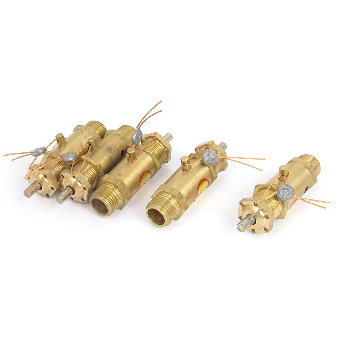 1/4BSP Male Thread Air Compressor Safety Pressure Relief Valve Gold Tone 5pcs