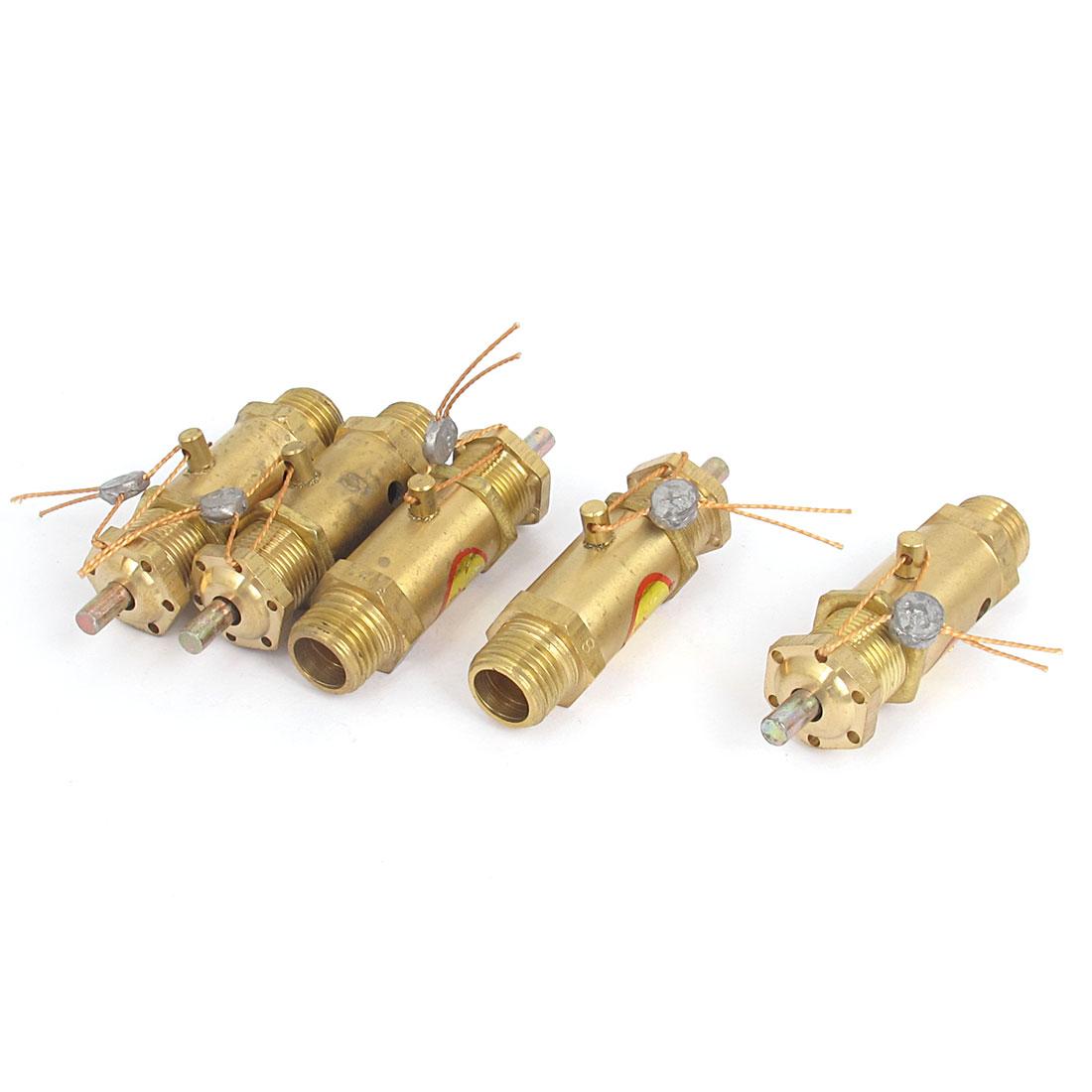 1/4BSP Male Thread Air Compressor Safety Pressure Relief Valve Gold Tone 5pcs