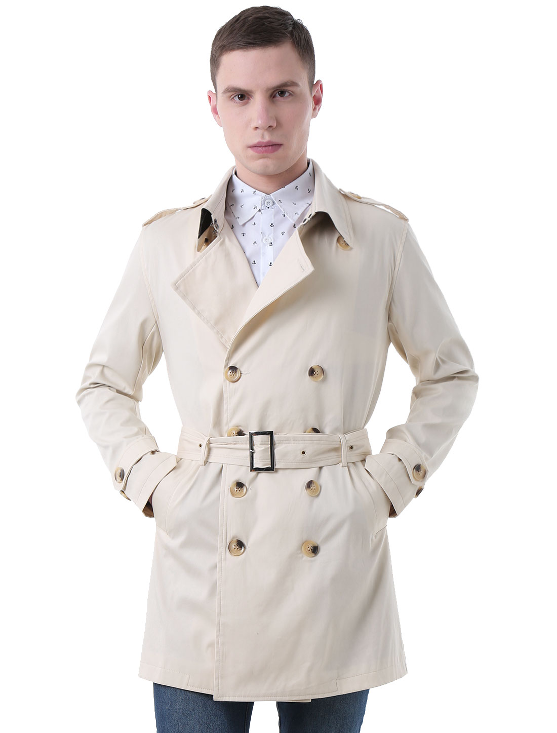 Men Split Lapel Button-tab Epaulets Belted Trench Coat Ivory L