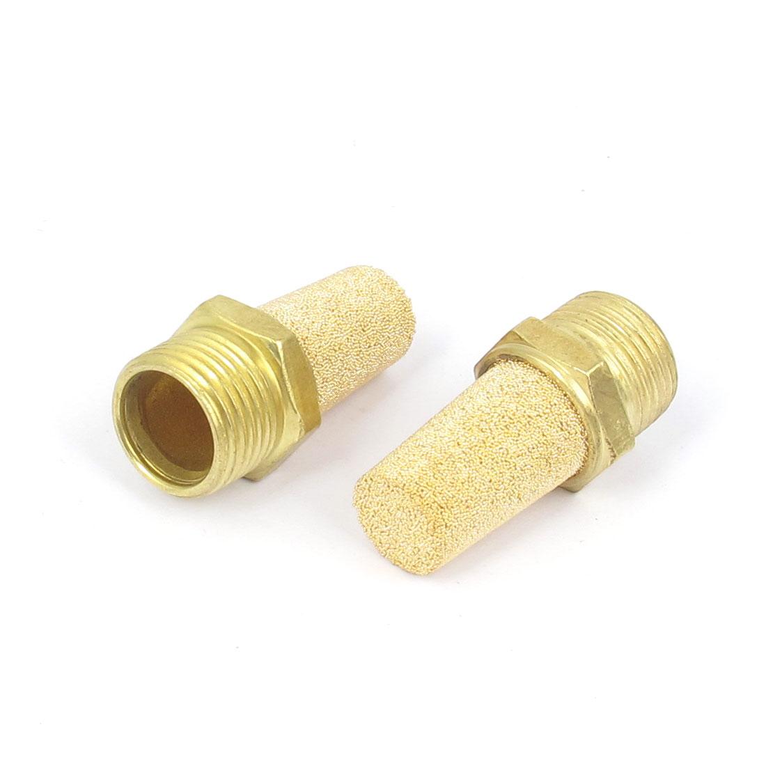 3/8BSP Male Thread Brass Pneumatic Exhaust Silencer Muffler 2pcs