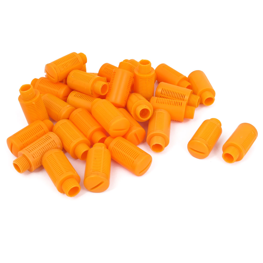 1/4BSP Male Thread Plastic Pneumatic Silencer Muffler Noise Exhaust Orange 30pcs