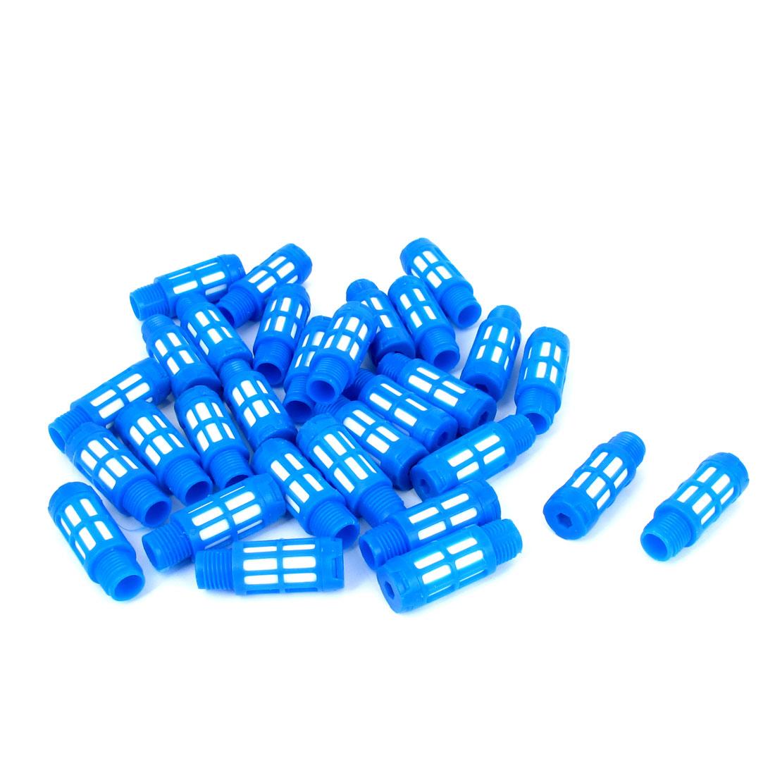 1/4BSP Male Thread Plastic Pneumatic Silencer Muffler Noise Exhaust Blue 30pcs