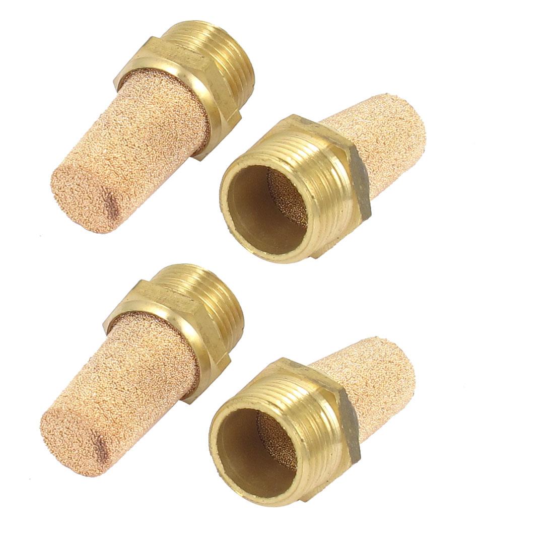 3/8BSP Thread Sintered Brass Pneumatic Air Exhaust Silencer Muffler 4pcs