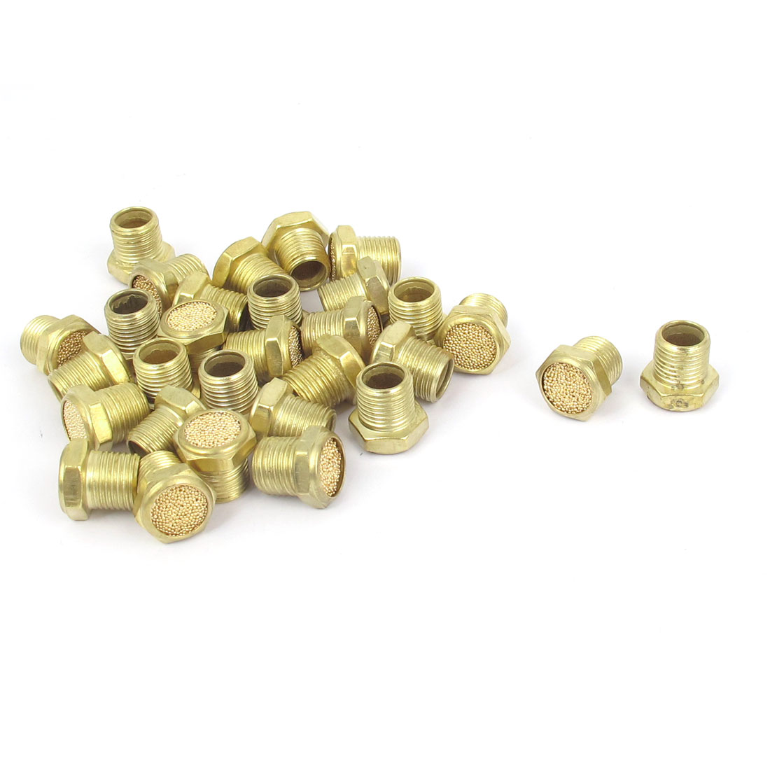 1/8BSP Thread Flat Head Brass Pneumatic Air Breather Muffler Noise Exhaust 30pcs