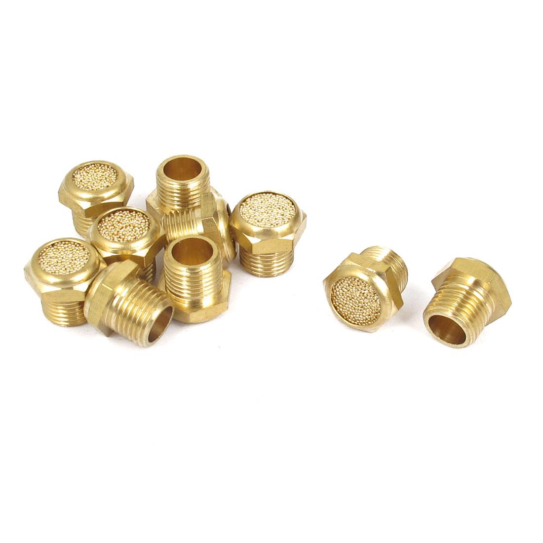 1/8BSP Flat Head Brass Pneumatic Muffler Noise Exhaust 10pcs