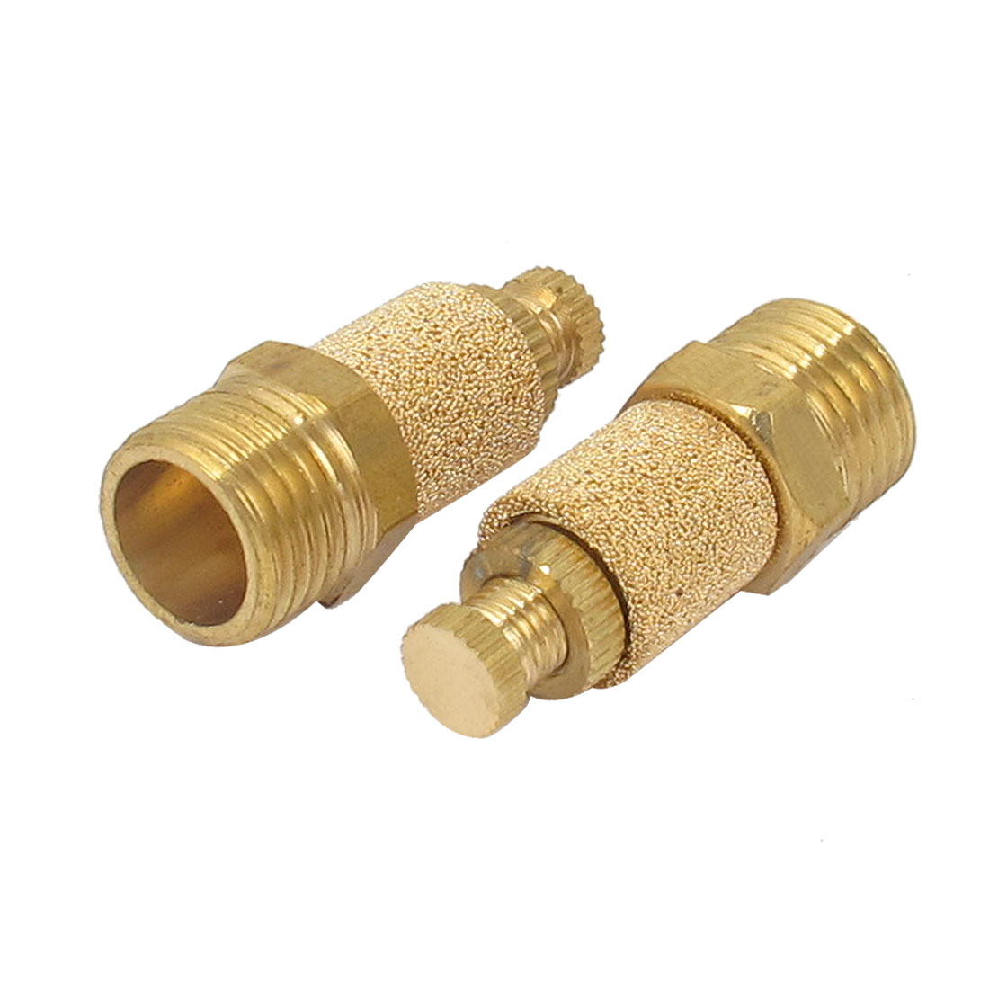 1/4BSP Thread Brass Adjustable Pneumatic Air Muffler Silencer Noise Exhaust 2pcs