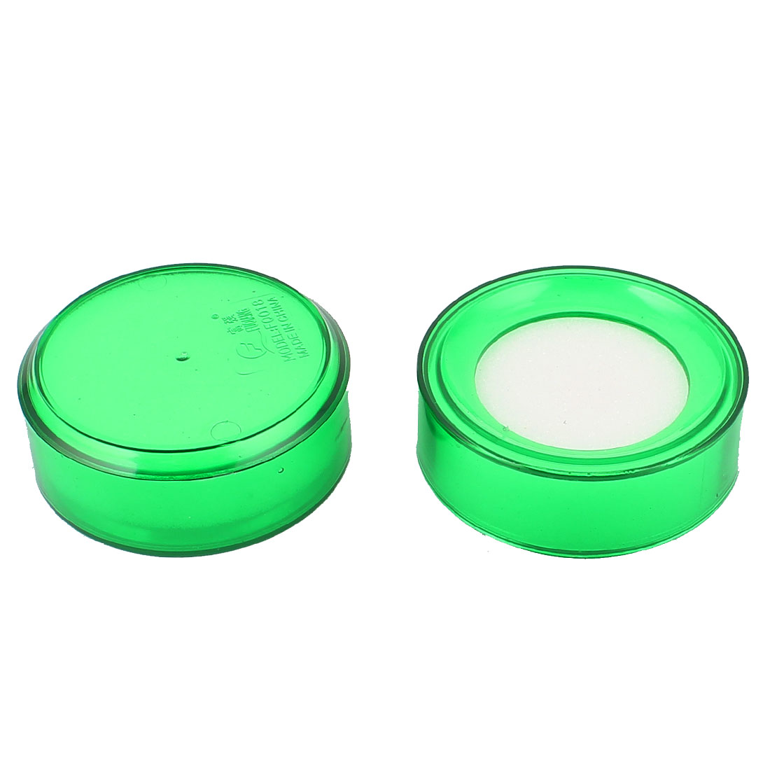 Green Round Case Soft White Finger Wet Sponge for Money Casher 2pcs