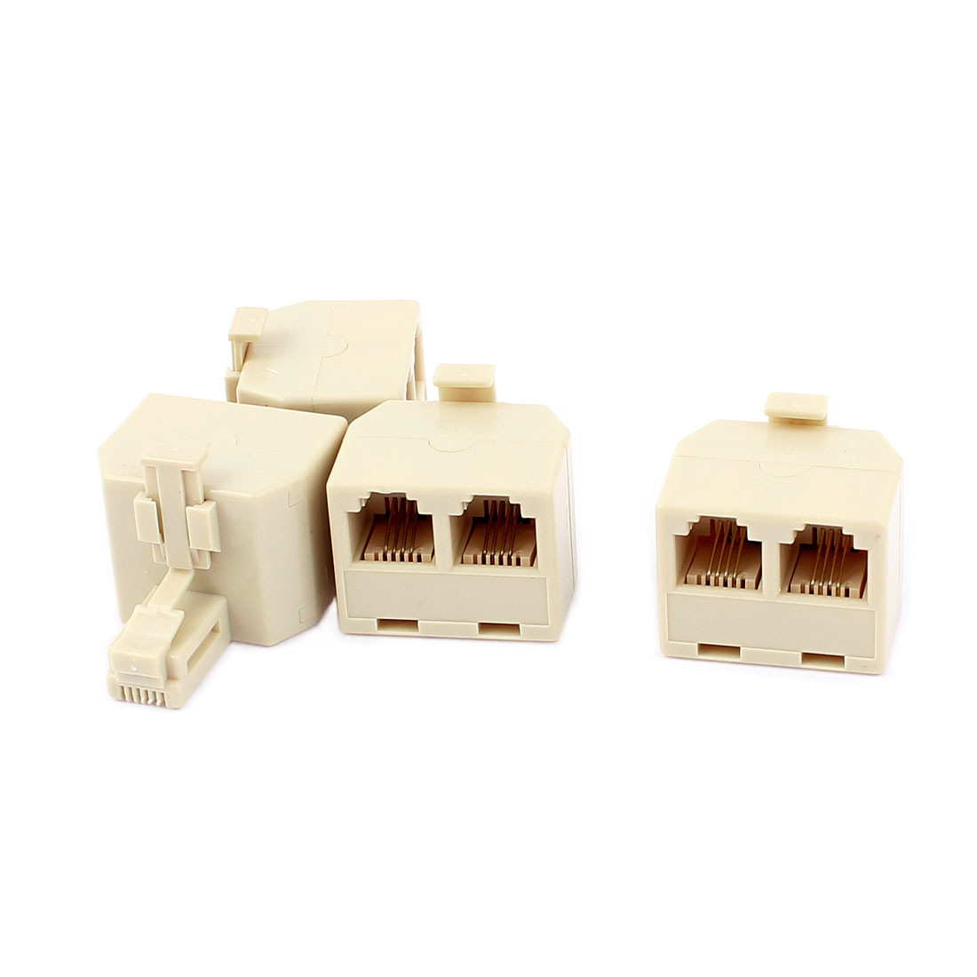 4Pcs Double 616E 4P4C RJ11 Female Telephone Network Connector Adapter